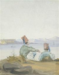 zwei griechen an einer küste sitzend, auf das meer und die gegenüberliegenden berge blickend by daniel hermann anton melbye