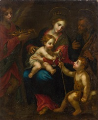 the holy family with john the baptist as a boy by simone pignoni