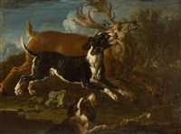 pair of works: deer and wild boar hunts by philipp peter roos