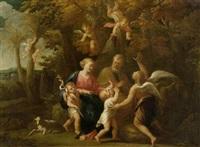 heilige familie mit johannes d. täufer und putti in einer landschaft by nicolas poussin
