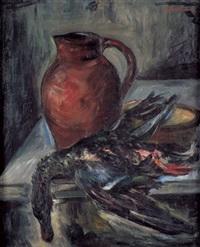stilleben mit einer ente und einem tonkrug auf einem tisch by isidor aschheim