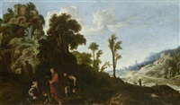 bewaldete landschaft mit kastell und figurenstaffage by david teniers the elder