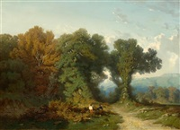 two wood cutters at the forest edge by gustave eugène castan