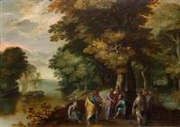christus mit drei jüngern und soldaten in einer landschaft by david vinckboons
