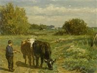 hirtenjunge mit kühen in einer landschaft by johannes hubertus leonardus de haas