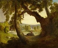schäferin in einer weiten englischen landschaft mit einer ruine im hintergrund by william overend geller