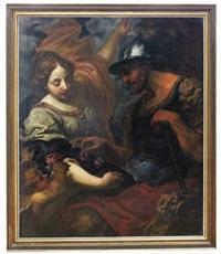 landsknecht und junge frau, die dem soldaten rosenblüten reicht by anonymous-italian (17)