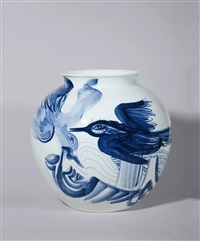 "青花""飞鸟""瓶 (a bird vase) by jared"