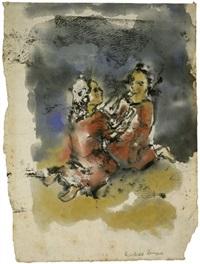 unterhaltung zweier mädchen im sand by reinhold langner