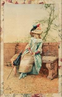 a lady on a park bench by leon tombu