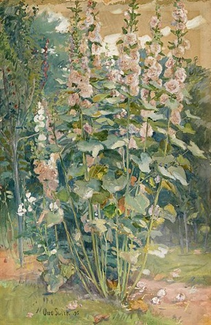 the hollyhocks by otto stark