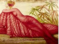 contemplation d'un chatoiement carmine by philippe augé
