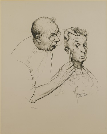 at the barber by norman rockwell