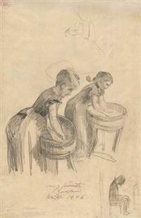 entwurfskizze zweier waschfrauen by lovis corinth