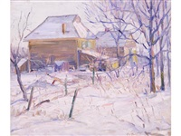 farmhouse in winter by american school