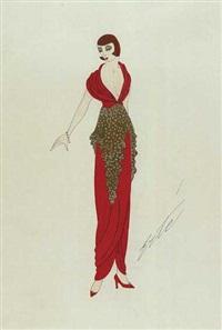 stehende frau mit bubikopf, in schmalgeschnittenem rotem kleid mit tiefem ausschnitt und goldenem hüftüberwurf by erté