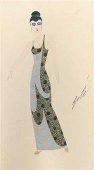 stehende frau mit hochgestecktem schwarzem haar, im blaugrundigen abendkleid mit schwarzen auflagen und goldenem dekor by erté
