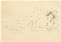 femme nue couchée by pierre-auguste renoir