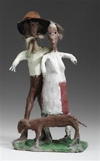 bauernpaar mit hund by ulrich bleiker