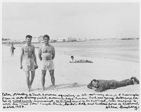 peter orlovsky, jack kerouac and william s. burroughs on a beach in morocco by allen ginsberg