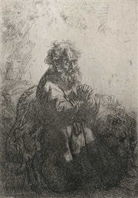 der heilige hieronymus knieend im gebet by rembrandt van rijn