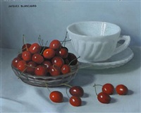 still life with a bowl of cherries and a teacup and saucer (+ still life with a bowl of cherries, vases and apples; 2 works) by jacques blanchard