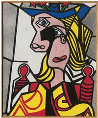 roy lichtenstein - woman with flowered hat by richard pettibone