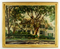 colonial home with trees by john foster
