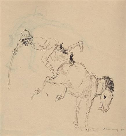 pferd wirft reiter ab study verso by max slevogt