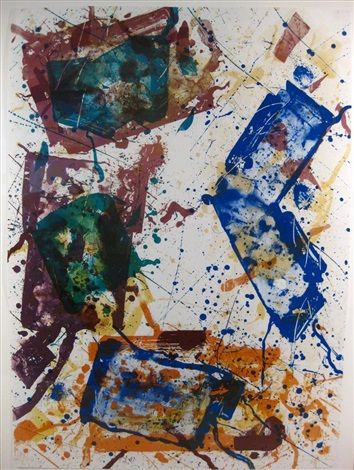 untitled (abstract with blues, greens, browns) by sam francis
