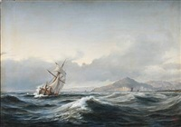 seascape with a sailing ship in rough sea. in the background a rocky coast by daniel hermann anton melbye
