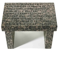 truism footstool by jenny holzer