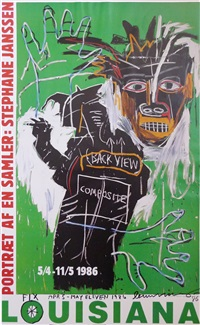 portrait of a collector: stephane janssen (with unique drawing) by jean-michel basquiat