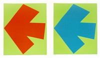 blue over green; orange over green (2 works) by ellsworth kelly