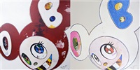 and then x6 (red the superflat method) (+ and then x6 white: the superflat method, pink and blue ears; 2 works) by takashi murakami