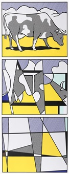 cow triptych (cow going abstract) (3 works) by roy lichtenstein