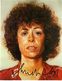 signed postcard of linda by chuck close