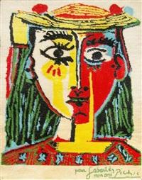 portrait de femme au chapeau au pompon et au corsage impriné by pablo picasso