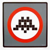 warning invader (grey) by invader