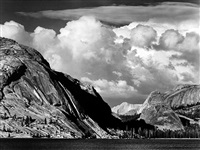 tenaya lake, thunderstorm, yosemite national park, california by ansel adams