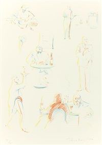 cafe sketches (from the physiology of taste series) by wayne thiebaud