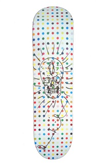 skull drawing on spot skate deck by damien hirst