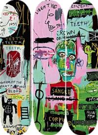 in italian skateboard triptych (set of 3) by jean-michel basquiat