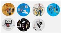 set of 7 plates by jean-michel basquiat