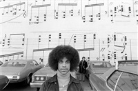 prince at the music mural outside of schmitt's music store, downtown minneapolis by robert whitman