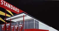 standard station (night) after ed ruscha (from pictures of cars) by vik muniz