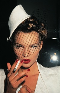 kate moss with fag in galliano, paris by roxanne lowit