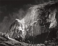 half dome and blowing snow, yosemite national park, ca by ansel adams
