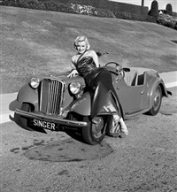 marilyn monroe with car on the set of how to marry a millionaire by frank worth