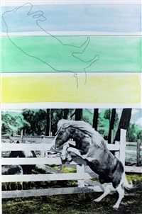three colors (with horse ascending), from hegel's cellar by john baldessari